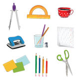 Office supplies icons Royalty Free Stock Images