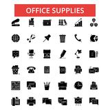 Office supplies illustration, thin line icons, linear flat signs. Office supplies illustration, thin line icons, linear flat signs, outline pictograms, vector Royalty Free Stock Photo