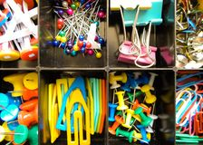Free Office Supplies In A Box, Set Of Stationery, Multicolored Paper Clips And Buttons Stationery Stock Images - 150407994