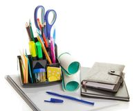 Office Supplies In A Support And Organizer Royalty Free Stock Image