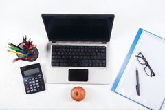 Office supplies and laptop computer 2 Royalty Free Stock Photos
