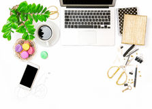 Office supplies and laptop. Creative workplace business Flat lay Royalty Free Stock Photos