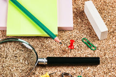 Office supplies in a mess. Stationery in a mess on the table Royalty Free Stock Images