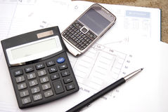Office supplies and mobile phone stock image