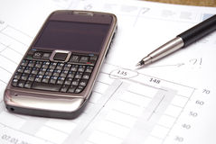 Office supplies and mobile phone Stock Images