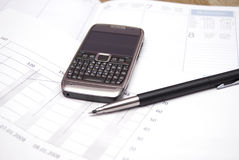 Office supplies and mobile phone Royalty Free Stock Photo