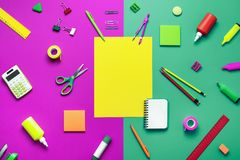 Office supplies on a colored background Royalty Free Stock Images