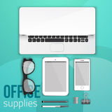 Office supplies and objects for branding regular items on background for company presentation, banner and workflow Stock Images
