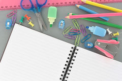 Office Supplies with open Notebook as copyspace Royalty Free Stock Images