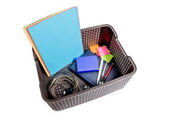 Office supplies packed in the plastic box Royalty Free Stock Images