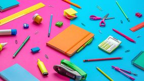 Office supplies on a paper background Royalty Free Stock Photo