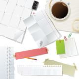 Office supplies and paper set Stock Images
