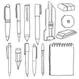 Office supplies  pencil pens cutter eraser. line art illustration Stock Photos