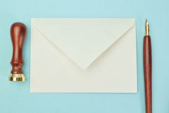 Office supplies and postal envelope. Stock Photography