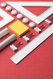 Office supplies on the red background table Stock Image