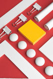 Office supplies on the red background table Stock Photo