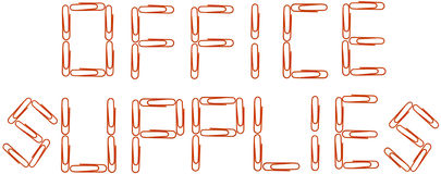 Office supplies red paper clips Royalty Free Stock Photos