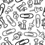 Office supplies seamless background. Doodle style seamless office supplies background pattern that can be tiled in vector format. Includes paperclips, pushpins Royalty Free Stock Images