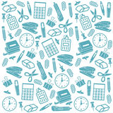 Office supplies seamless background. Doodle style seamless office supplies background pattern that can be tiled in vector format Royalty Free Stock Images