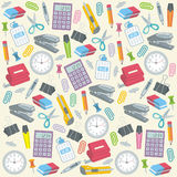 Office supplies seamless background. Doodle style seamless office supplies background pattern that can be tiled in vector format Stock Photo