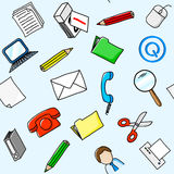 Office supplies seamless background Stock Image
