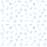 Office supplies seamless vector pattern. Thin lines office icons. Background Royalty Free Stock Photos
