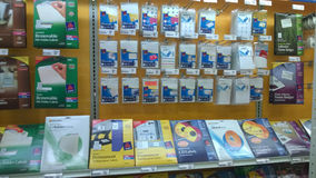 Office supplies selling at store Stock Photos