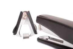 Office supplies: stapler, staples, supply. Isolated on wite Royalty Free Stock Photo