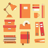 Office supplies and stationery icons set. Flat design Royalty Free Stock Photos