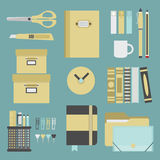 Office supplies and stationery icons set Stock Image