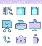 Office, business supplies line symbols. Vector thin outline icon. Office supplies and stationery outline icons: printer, monitor, document, briefcase, cup Royalty Free Stock Photo
