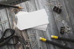 Office supplies. Stationery on the table in black Stock Image