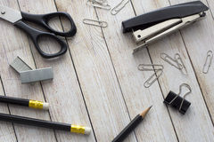 Office supplies. Stationery on the table in black Stock Images