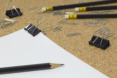 Office supplies. Stationery on the table in black Royalty Free Stock Photos