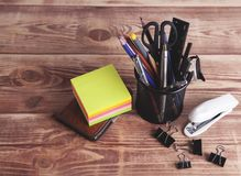 Office supplies on the table vector illustration