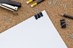 Office supplies. On the table next to the paper Royalty Free Stock Image