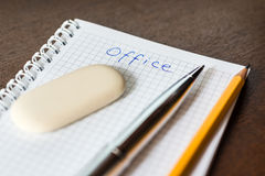 Office supplies on the table Stock Images