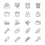 Office supplies thin icons. Simple, Clear and sharp. Easy to resize Stock Photography