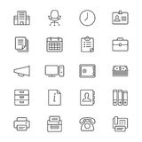 Office supplies thin icons royalty free illustration