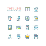 Office Supplies - Thin Single Line Icons Set. Office Supplies - modern vector plain simple thin line design icons and pictograms set with accent color. Locker Stock Photography