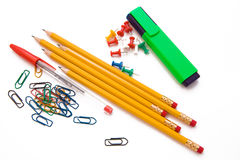 Office supplies on white Stock Image