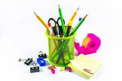 Office supplies. On a white background Royalty Free Stock Photography