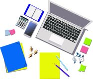 Office supplies on the table. Office supplies and white laptop on the table. Colored vector illustration Royalty Free Stock Images