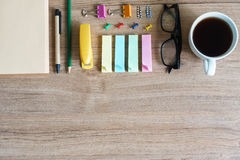 Office supplies on wooden background stock photos