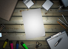 Office supplies on wooden background 3d render Royalty Free Stock Photos