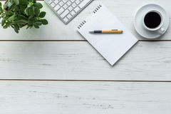Office. Supplies on the wooden desk Stock Image