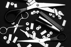 Office supply. BW artistic photo of bright office supply Royalty Free Stock Images