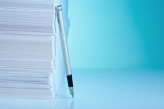 Office supply. Fountain paper and pen Stock Photos