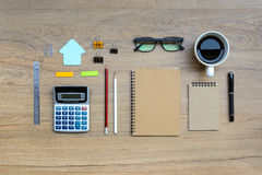 Office supply and Cup of coffee Stock Image