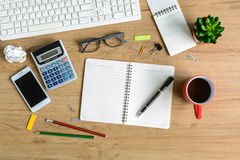 Office supply and Cup of coffee on desk Stock Image
